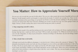 You Matter: How to Appreciate Yourself More