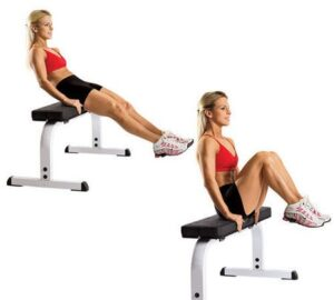 Seated leg pull in